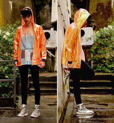 dapper alien ~~~~~~ - Ragged Priest Raincoat, Puma X Neil Barrett -  fluorescent rain