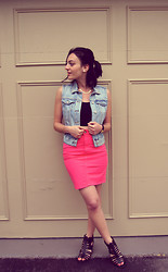 Raquel J - Talula Denim Vest, Forever 21 Crop Tank, American Apparel Coral Pencil Skirt - Billie Jean