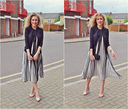 Taylor Gymer - Christian Dior Cardigan, Asos Dress, Zara Heels, Reiss Clutch - Striped Pleats