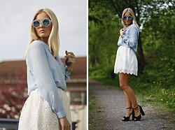 Marie Wolla - Selected Femme Shirt, Dry Lake Skirt, Topshop Heels, Le Specs Sunglasses - Baby, it's blue
