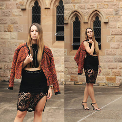 Emma Attard - Wish Boutique Incite Jacket, Dollygirl Fashion Lace Skirt - WINTER IN THE CITY