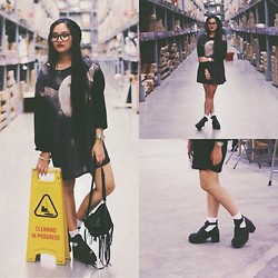 Richeen Siew - Local Online Store Chiffon Dress, Topshop Spiked Bracelet, H&M Knitted Beanie, H&M Fringed Backpack, Local Online Store Cut Out Boots - Cleaning in Progress