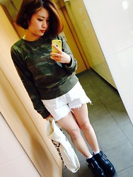 Hanae - American Eagle Tops, Kastane Boots, American Apparel Tote Bag - Camouflage