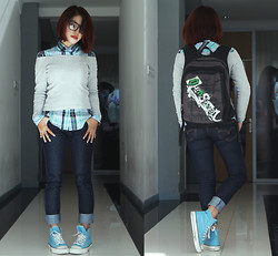 Cy Rasella - Theory Plaid Shirt, Ivy Jeans, Ray Ban Black Frame Glasses, K   Zoot Shoes, Quiksilver Backpack - CyanGrey