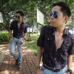 Jared Caagbay - Cotton On Plaid Polo, Levi's® Skinny Denims, Sunnies By Georgina - 90's kid