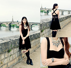 Noree Anne Celine - Chicnova Cross Back Dress, Chicnova Vintage Hollow Out Floral Watch, Oasap Antique Layered Pearl Necklace - The Tears We've Shed Made a River