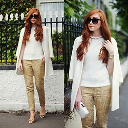 Erika Fox - White Jacket, White Top, Gold Pants, Sunglasses, More - White & Gold