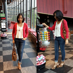 MD Ayomi - Red Cardigans, Fossil Leather Bags - My red weekend