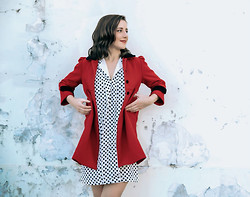 Taylor B - Vintage Red Coat, Polkadot Dress - Classic Combination