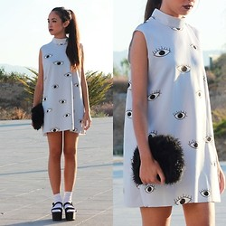 Esther L. - Oasap Eye Dress, Zara Platform Sandals, H&M Fluffy Clutch - Eye dress