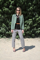 Giseleisnerdy L - Bash Jacket, H&M Shirt, Texto Sandals, Topshop Pants, H&M Necklace - Giseleisnerdy.fr - Bash and Topshop