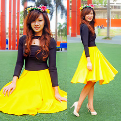 Jannelle O. - Apartment 8 Cropped Long Sleeves Top, Apartment 8 Full Circle Skirt, Call It Spring Nude Pumps - Flowers of May