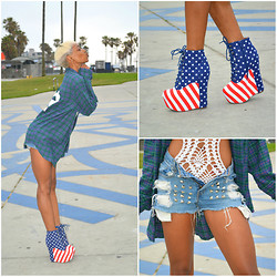 Precious Gilbert - Jeffrey Campbell Damsel Stars And Stripes, Levi's® Vintage, Brandy Melville Usa Wylie 32 Flannel - Happy Memorial Day