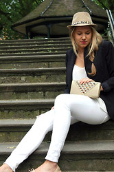Lovisa - Urbiana Trillby Hat, Topshop Strappy V Neck Cami, H&M Smart Blazer, Zara White Jeans, Urbiana Stunning Bag With Crystal Studded Clasp - Edgy summer look