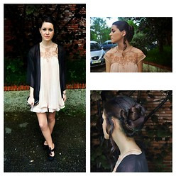 Laura Medina - Sheinside Nude Dress, H&M Black Kimono, Blanco Black Purse - Prom♥