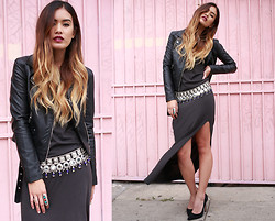 Jill Wallace - H&M Moto Jacket, H&M Maxi - H&M x Little Black Boots
