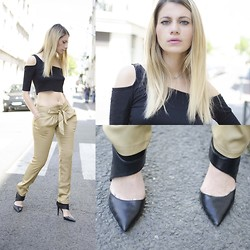 SARAH LOSS - Black Crop Top, Pants, Zara Heels - Street girl