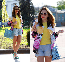 Iren P. - Mr. Gugu & Miss Go R.I.P. Diet Printed Baseball Jacket, Vintage Yellow T Shirt, Moto Denim Ripped Shorts, Zara Baby Blue Perforated Shopper Tote Bag, Breckelles Mint Heeled Sandals, Asos Round Sunglasses - R.I.P. Diet