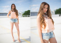 Jana Couture - Zara Shirt, Hollister Jeans Shorts, Sweet Deluxe Necklace, Mango Wedges - Summer Deluxe