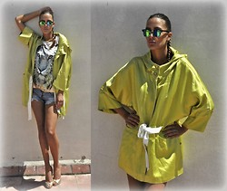 Amina Allam - Giant Vintage Sunnies, Moorakoosh Neon Green Parka Coat, Moorakoosh Lion Print Tank Top, Zara Ripped Denim Shorts, Christian Louboutin Peep Toe Pumps - A day in greenish satin