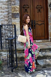 Christina Oh - Eliza J Floral Maxi Dress, Dolce & Gabbana Straw Bag, Joie Open Toe Booties - Floral Maxi