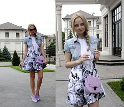 Violetta Privalova - Asos Dress, Asos Bag, Lacoste Sneakers -  Floral Border Print+Denim