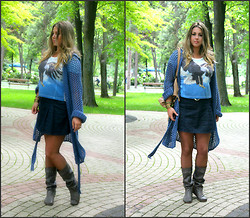 Alexandra Hope - Esprit Skirt, Primark Crop Top, Moonson Cardigan, Replay Summer Boots - The Blue Note