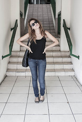 Meli P. - No Names Sun Glasses, No Brand Black Sheer Tank, Levi's® Jeans, Madden Girl Sparkly Flats, Billabong Black Tote Bag - Casual Sparkle