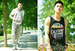 Chris Su - Tough Jacket, Dr. Martens Boots, H&M Tank - But Not In California