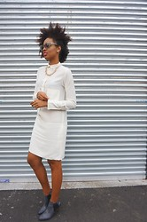 Aicha R. - Céline Celine White Shirt Dress, 8 Other Reasons Bullet Through Your Heart Necklace, S E N O Senso Olivia Ii Boots - ALL WHITE CELINE