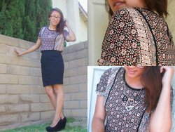 Brittany Ting - H&M Pencil Skirt, Forever 21 Top, Justfab Shoes - Such Great Heights