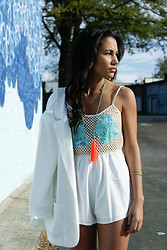 Alexandra Lord - Forever 21 Blazer, Saboskirt Romper, Ljcdesigns Beaded Tassel Necklace - MIAMI