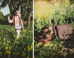 Fox Fräzier - Thrifted Sunshine Specs, Gumgee Crochet Top, Wilson Leather Vest, (Unknown) Leather Boho Satchel - Moves Like an Old Gypsy Woman