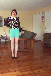 Lindsey S. - Allegra K Flower Long Sleeve Blouse, Forever 21 Dark Mint Shorts, Target Black High Heels - Summer Time