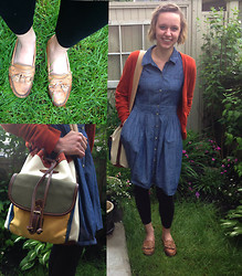 Amy - Leather Loafers, Old Navy Denim Dress, Joe Fresh Cardigan, Picard Bag - The Denim Dress