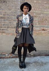 Sushanna M. - Thrifted Black Fedora, Thrifted Vintage Floral Blazer, Threadless Robot Print T Shirt, Chic Wish Black Pleated High Low Skirt, Black Satchel, Black Tights With Golden Faux Suspenders, Urbanog Black Ankle Boots With Exposed Blue Zipper - Sukiyaki Western Django