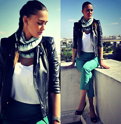 Amina Allam - Missoni Shawl, Bo&Nany Leather Jacket, Mango Sleeveless Top, Mango Pants, Christian Dior Peep Toe Pumps - Basics & green