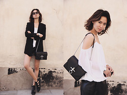 Miu N - Nly Trend Top, Givenchy Bag, Bikbok Shoes, H&M Blazer, Zara Shorts, Cubus Sunglasses - Black & White