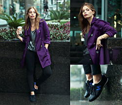 Didi Ibarra Rake - Bebe Trench Coat, H&M Metallic Top, New Balance Sneakers - Coffee Break