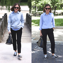Trini Gonzalez - Ray Ban Sunglasses, Fruit Of The Loom Sweatshirt, Club Monaco Shirt, The Kooples Pants, Adidas Sneakers, Louis Vuitton Handbag - Spring 2014