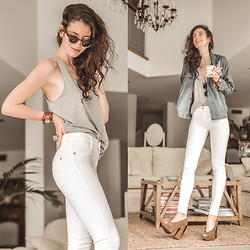 Elle-May Leckenby - James Jeans High Class Frost White, Melissa Shoes Boho Heal, Zanzea Grey Tank, Sheinside Oversize Denim Jacket - Just simple