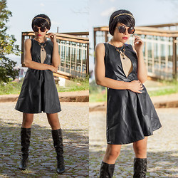 Priscila Diniz - Black Boots, Black Dress   Similar Here >, Rounded Sunglasses, Spiked Tiara - Think different to look different