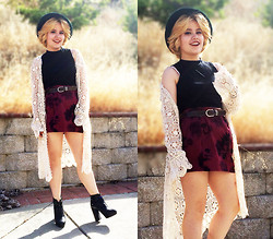 Allison K - Zara Skirt, Brandy Melville Usa Crochet Cardigan, Forever 21 Hat - 5/30/14
