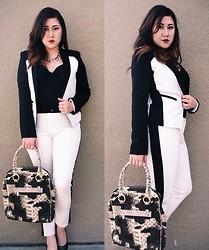 Tricia Coronel - Thick Gold Chain, Ovi Black/White Blazer, Forever 21 Ankle Tuxedo Pants, Louis Vuitton Tote, Victoria's Secret Black Corset - Girl Boss