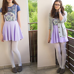 Sabrina X - Sheinside Shirt, Sheinside Skirt, Primark Cardigan - Romantic