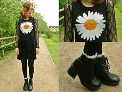 Annie Honey Mac - Ebay Dress, Charity Shop Lace Top, Rokit Boots, Topshop Socks - Gothic Summertime