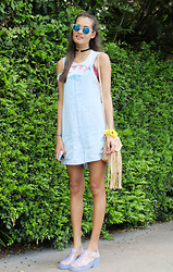 Gizele Oliveira - Zara Rompers, Topshop Bracelet, Asos Choker, River Island Jelly Sandals - Blue and flowers