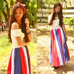 Lyssa Jane Villanueva - White Off Shoulder Cropped Top, Customized Skirt - Princess