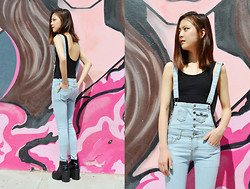 Q2 HAN - Wequeen Denim Overall, Q2han Backless Top - Pink Bubble Gum
