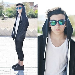 Manu F - Emp Creepers, Pull & Bear Pants, 41eyewear Sunnies, Bershka White Shirt, Primark Black Jacket - C(X)